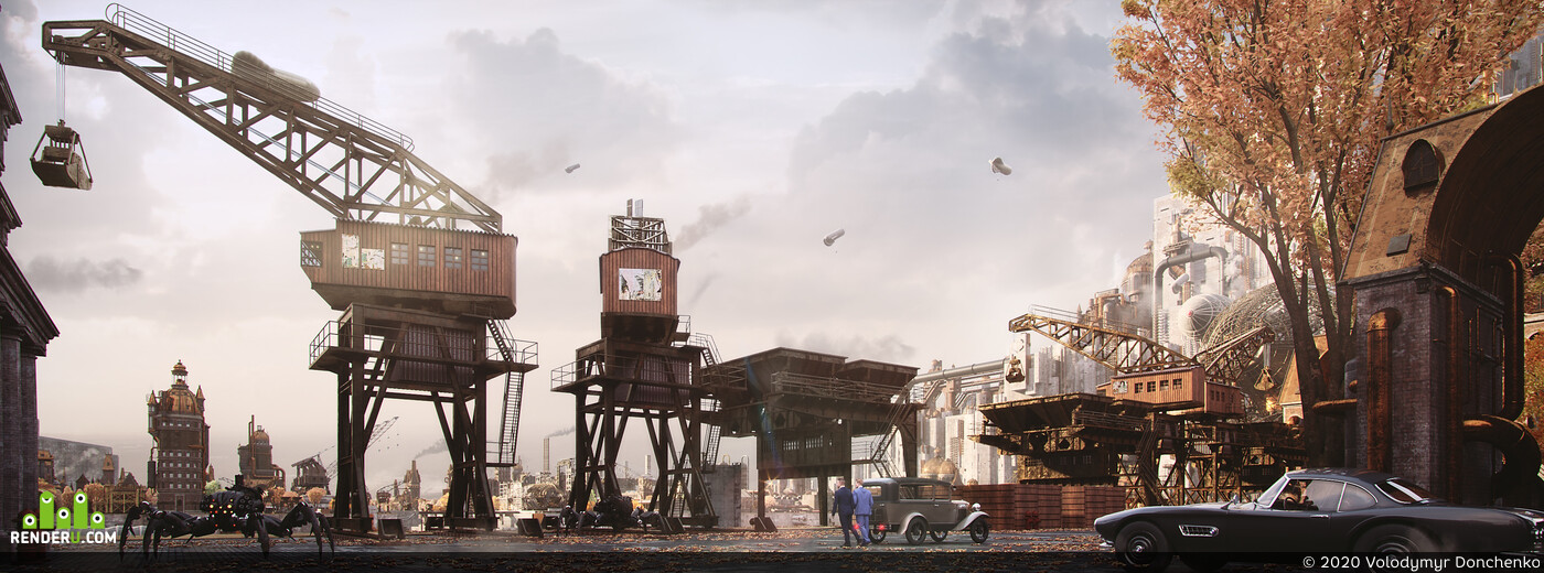 Concept Art, Environments, illustration, steampunk, Town, city, Industrial, architecture, kitbash, Digital 3D