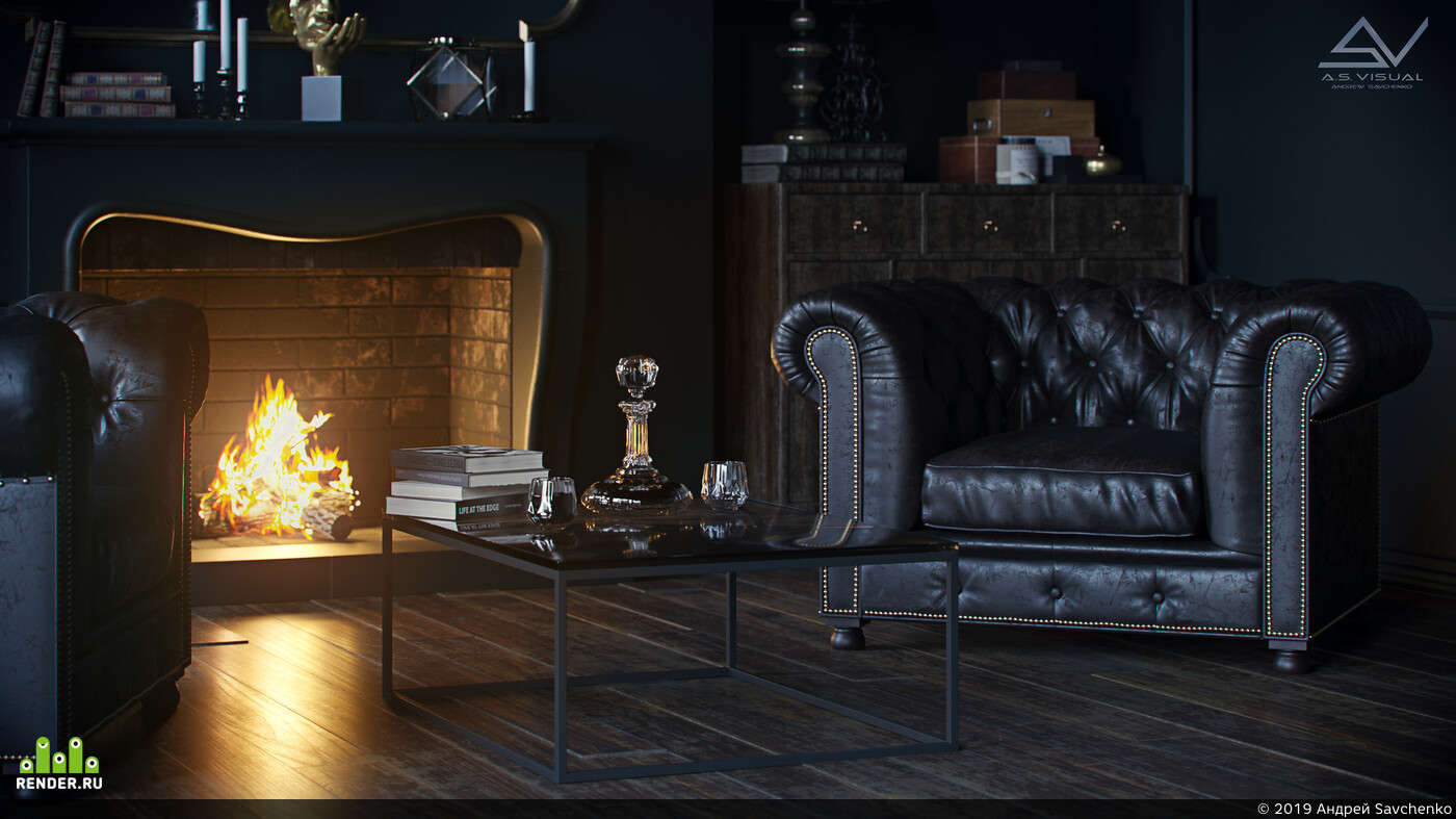 dark interior living room камин темный интерьер