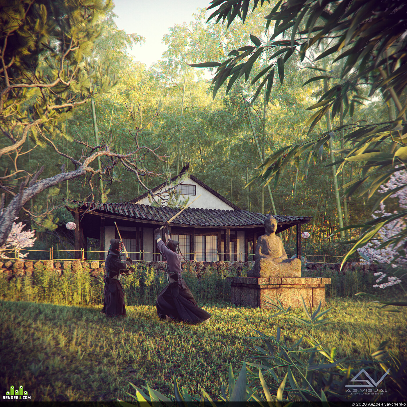 old house, forest, house in the forest, samurai, japanice, dusk