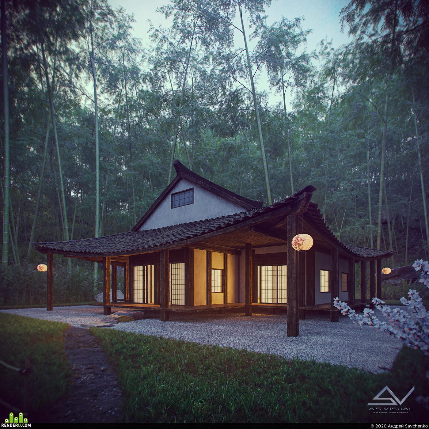 Старый дом, лес, Дом в лесу, Япония, самурай, закат