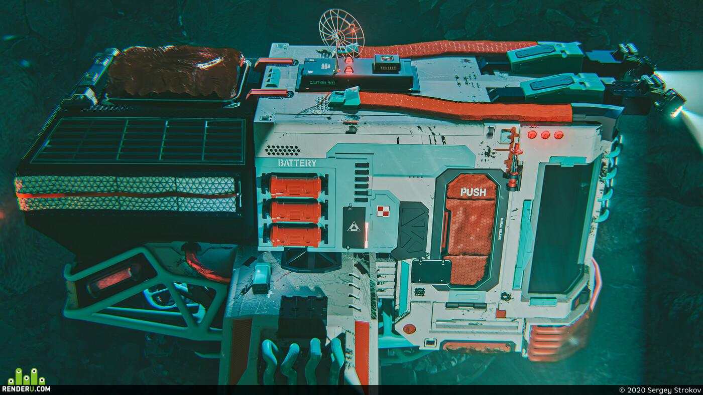 Concept Art, Science Fiction, sci-fi,, hardsurface, hardops, vehicle, Eevee
