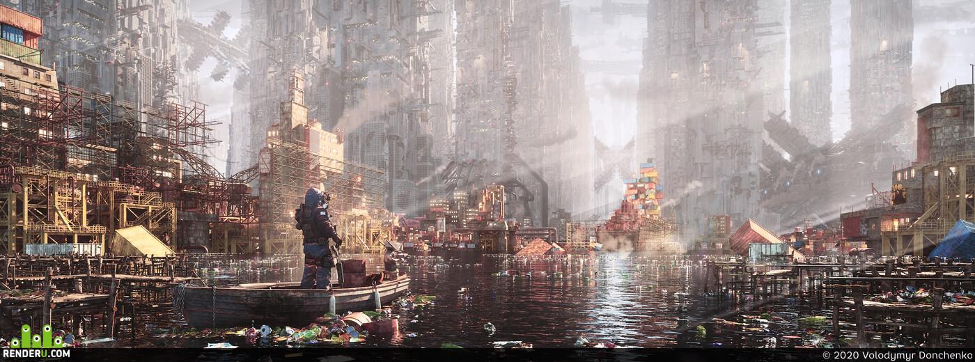 scifi, Concept art, futuristic, postapocaliptic, sci-fi,