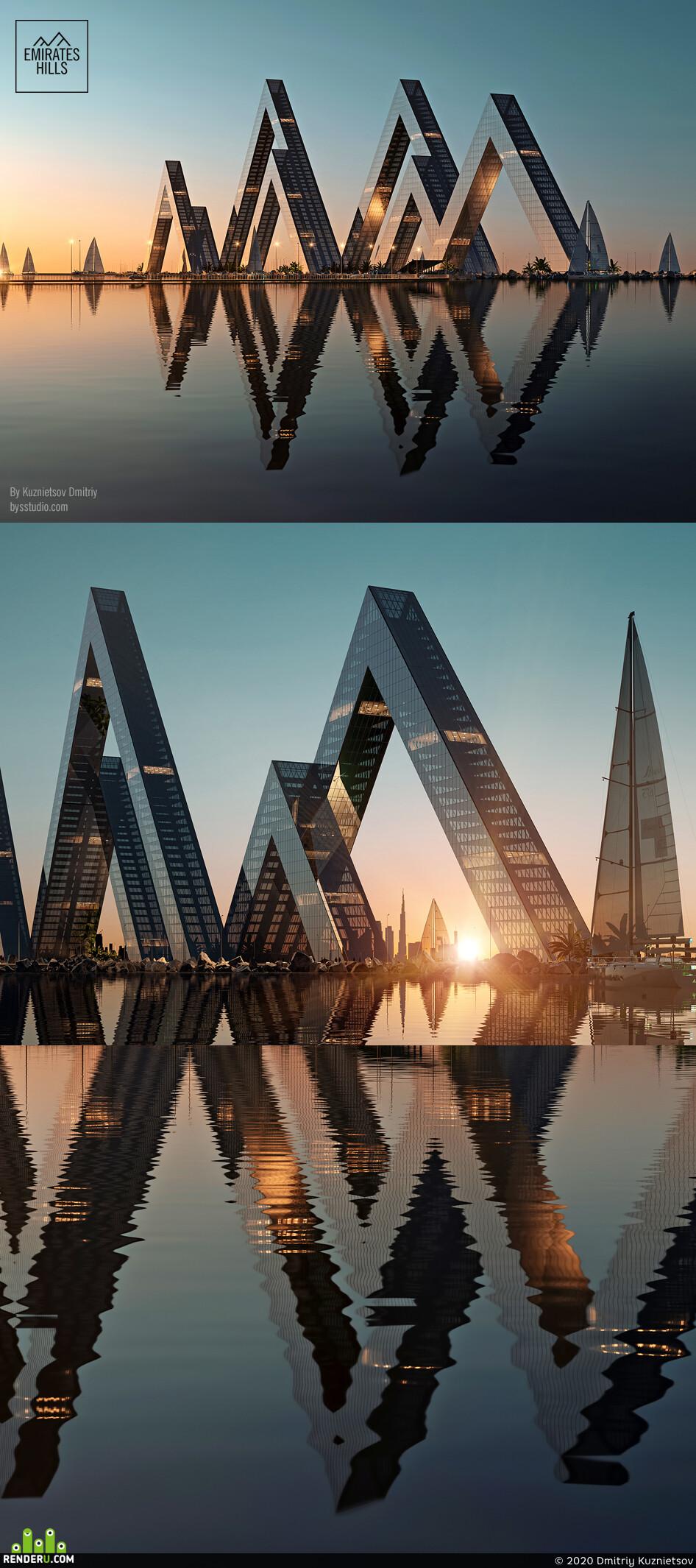 concept, art, hills, emirates, uae, modern house