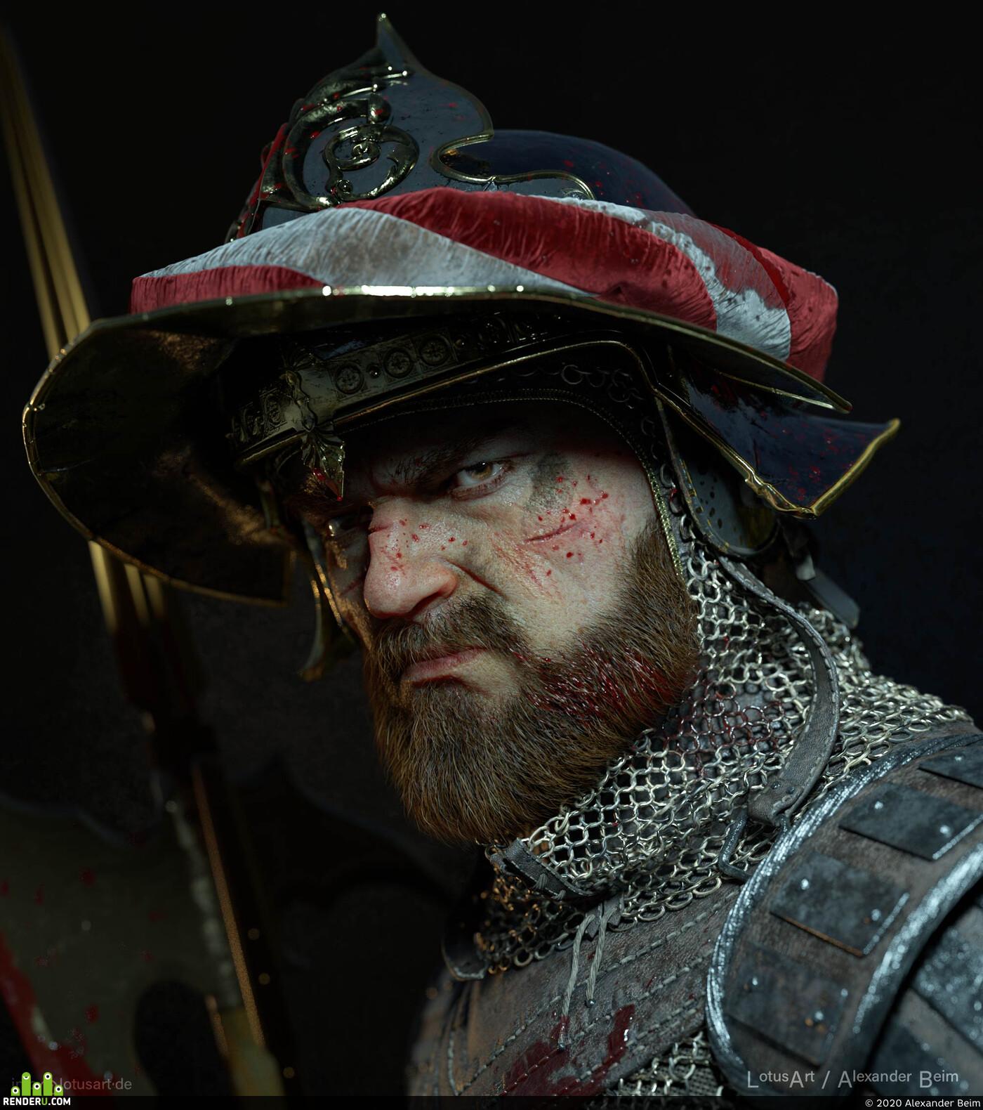 warrior, medieval, characterart, knight, ZBrush, Maya, XGen