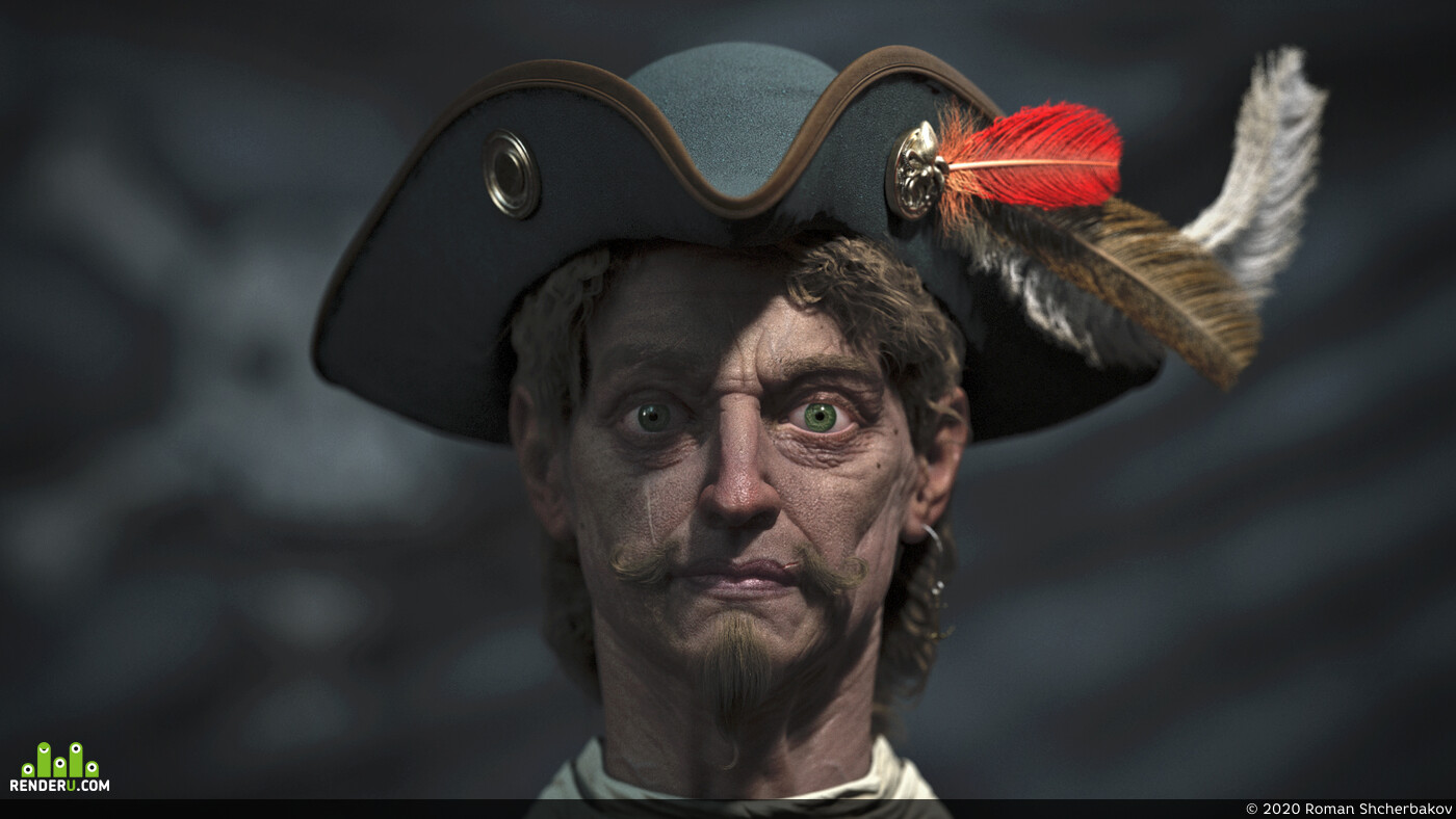 pirate, Portrait, face, man, Character, male, Captain, feather, hat, flag