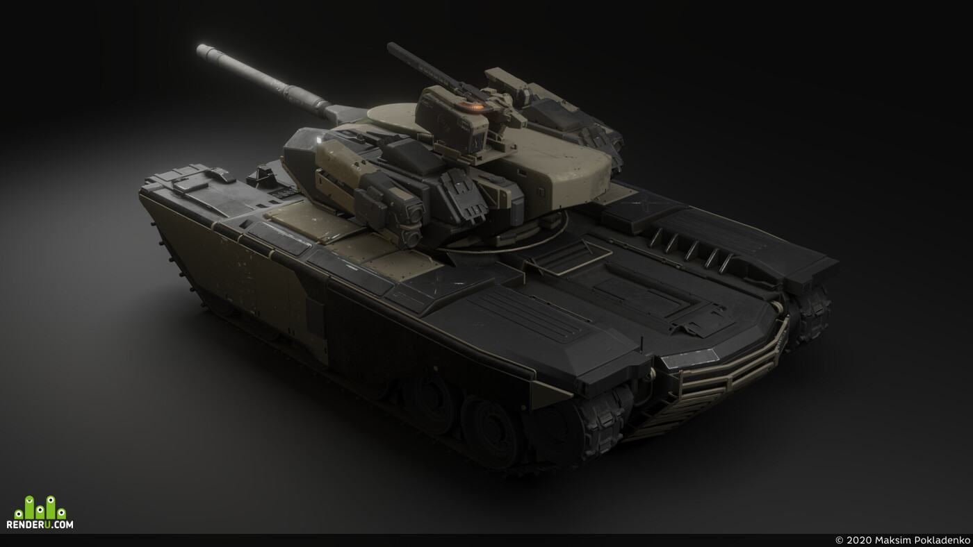 Traditional 3D, Transport & Vehicles, Blender, tank, future, sci-fi, Game-ready, mt006, War, military