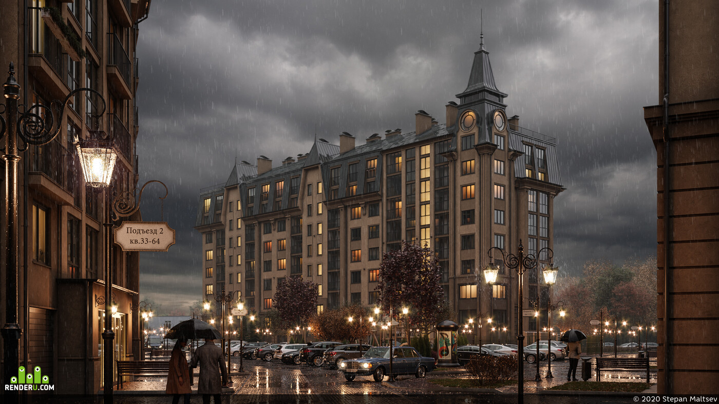 Exterior, building, house, evening, sunset, morning, autumn, rain, architecture, visualization
