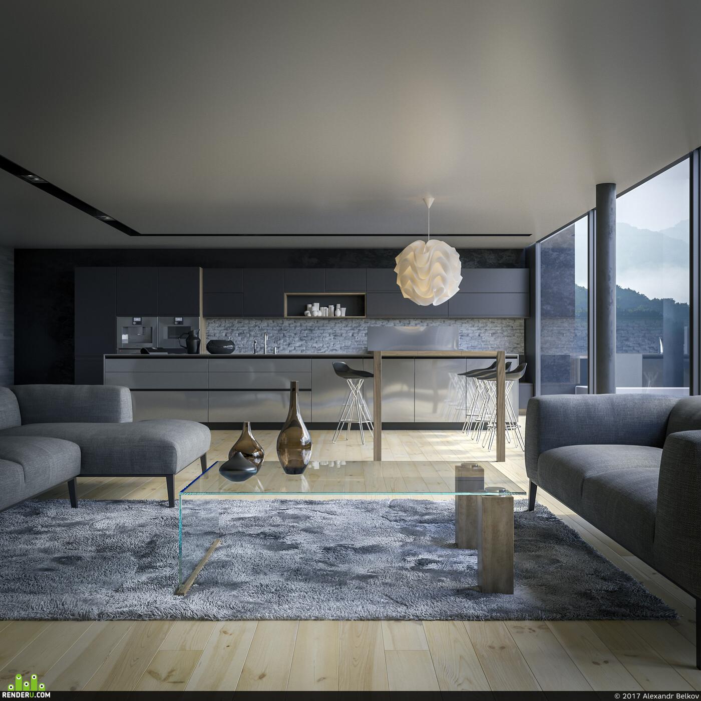 interior, 3dmax, apartaments, coronarenderer, Photoshop, vizualization
