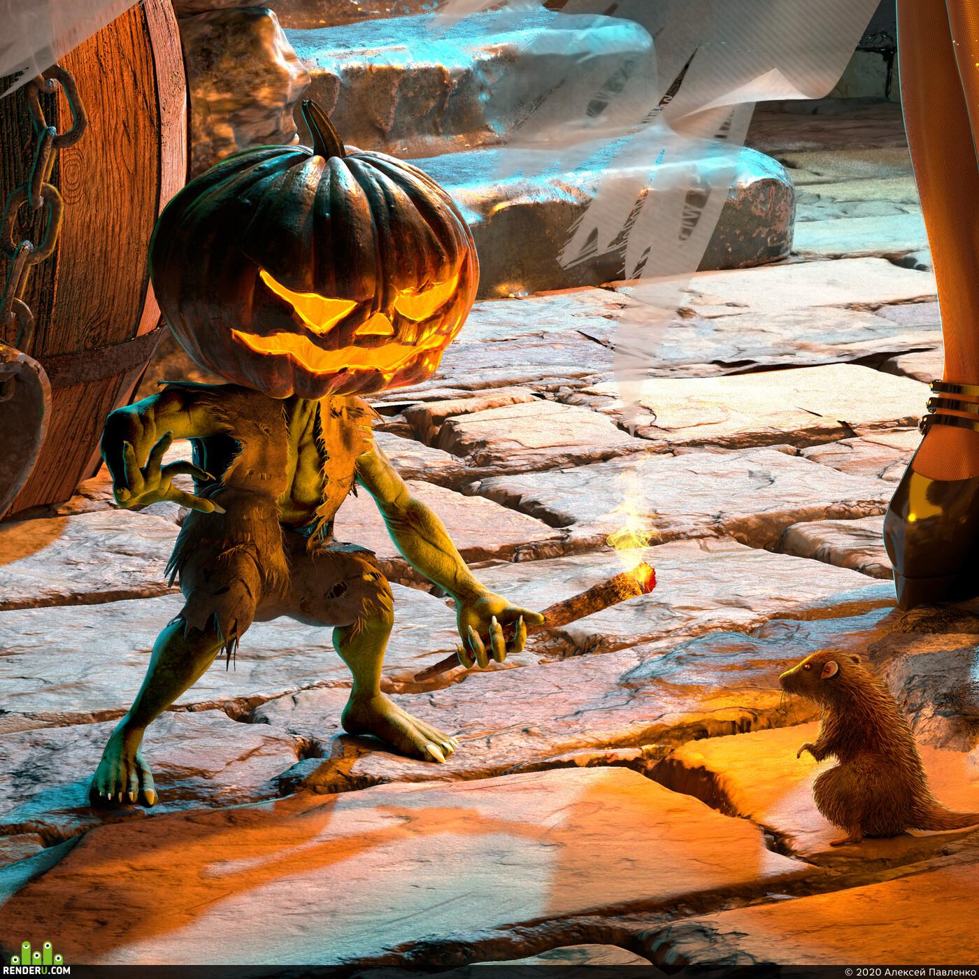3d woman, womanart, witch, girl, Halloween!, helloween, тыква, девушка, ведьма, латекс