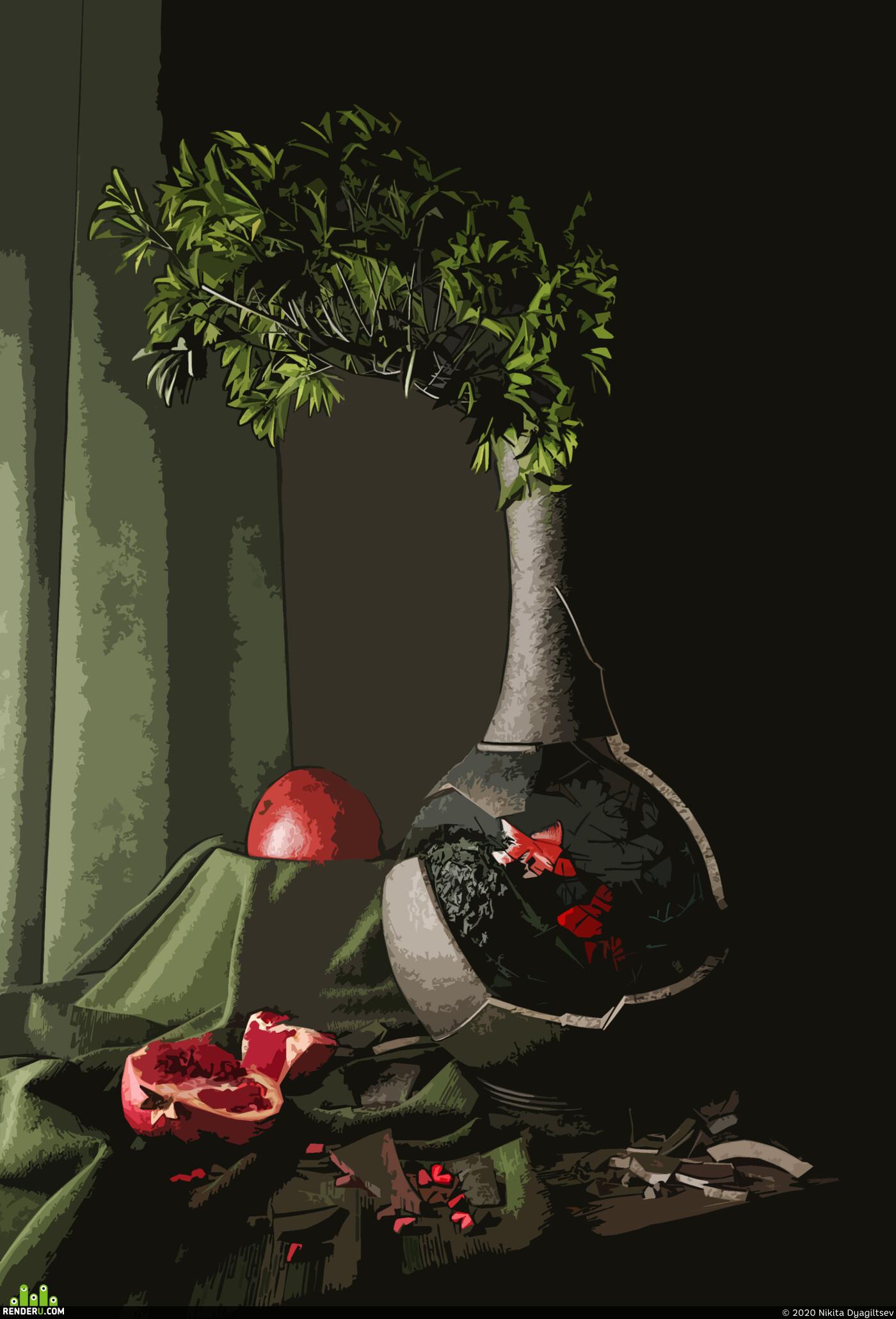 Натюрморт, still-life, Corona Renderer, 3ds Max, photorealism, Сюрреализм, мистика