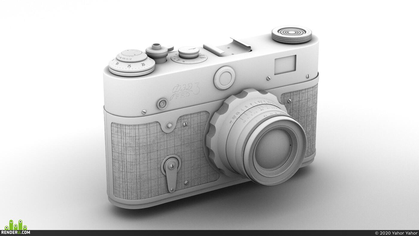 Фотоаппарат, Винтаж, винтажная техника, фототехника, старая фототехника, ФЭД, OctaneRender, cinema 4d