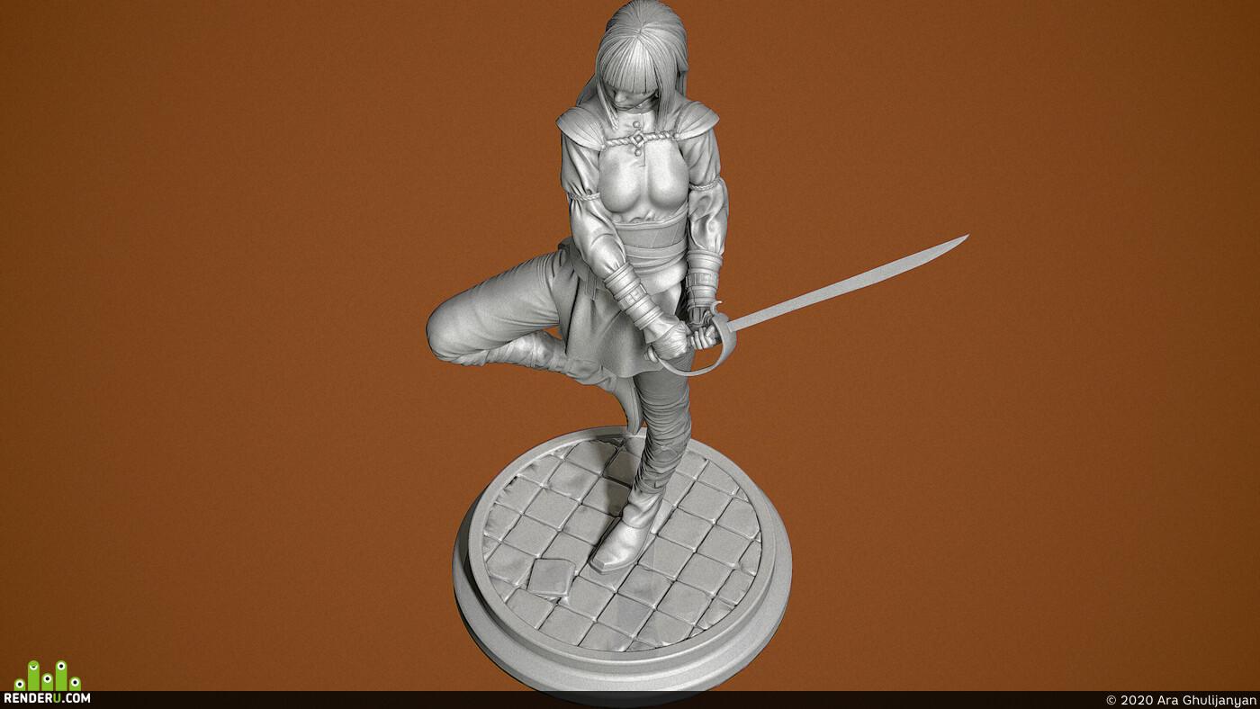 girl, sword, Dungeon guard statue, 3d print