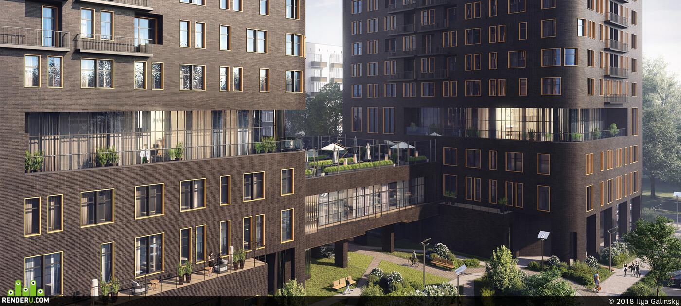3D архитектура, архитектурная визуализация, архвиз, 3dmaxvray, жилой комплекс, Экстерьер