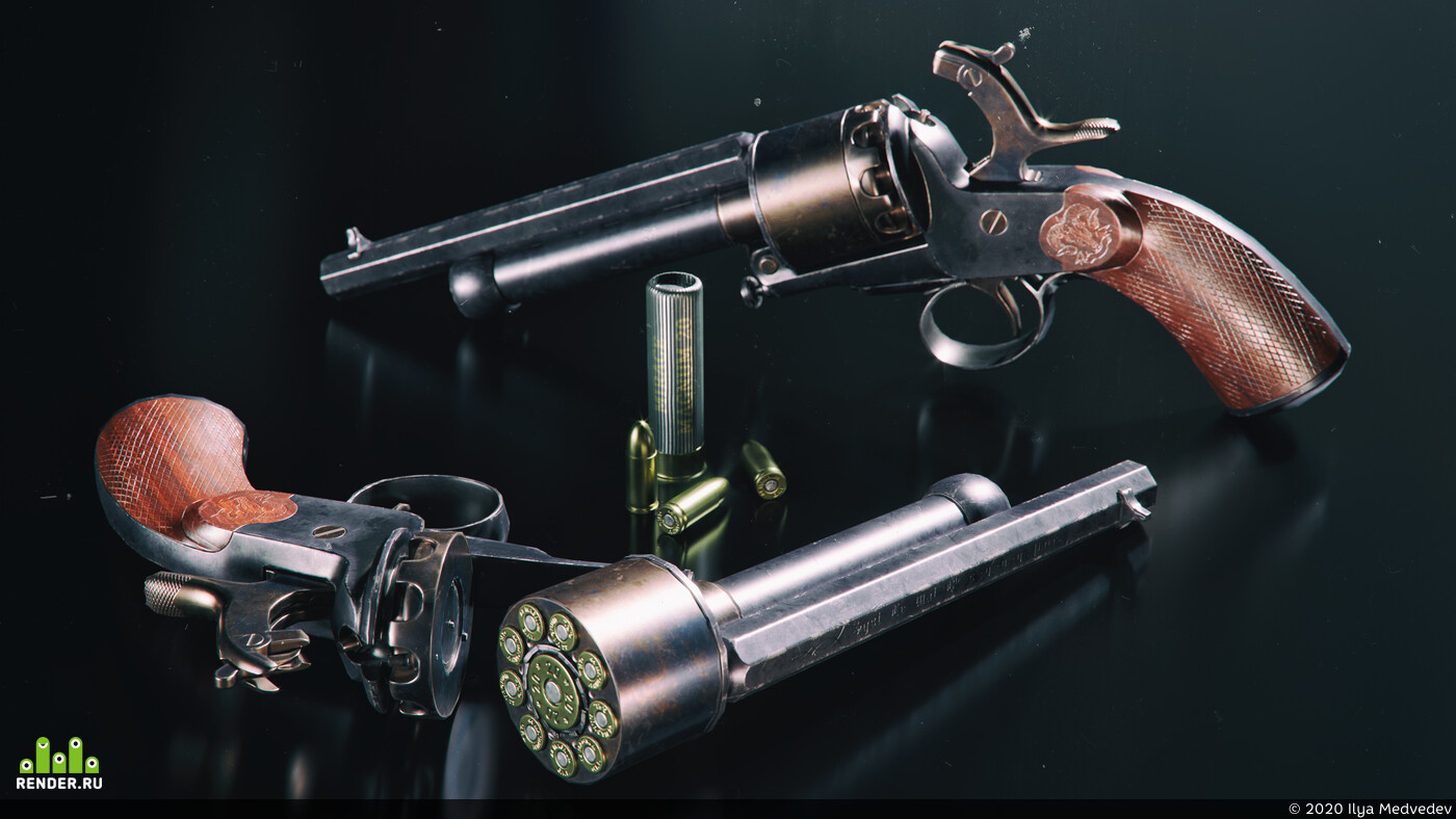 hardsurfaces, weapons, gameart, Textures & Materials, LeMat, revolver, LeMat Revolver