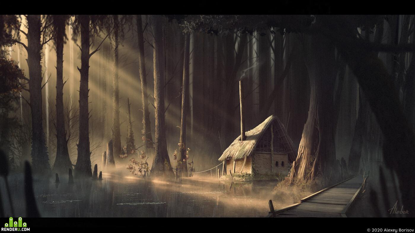 Digital 2D, Architectural Concepts, lighting, environment, swamp, sunlight, water, hut, mist, bridge