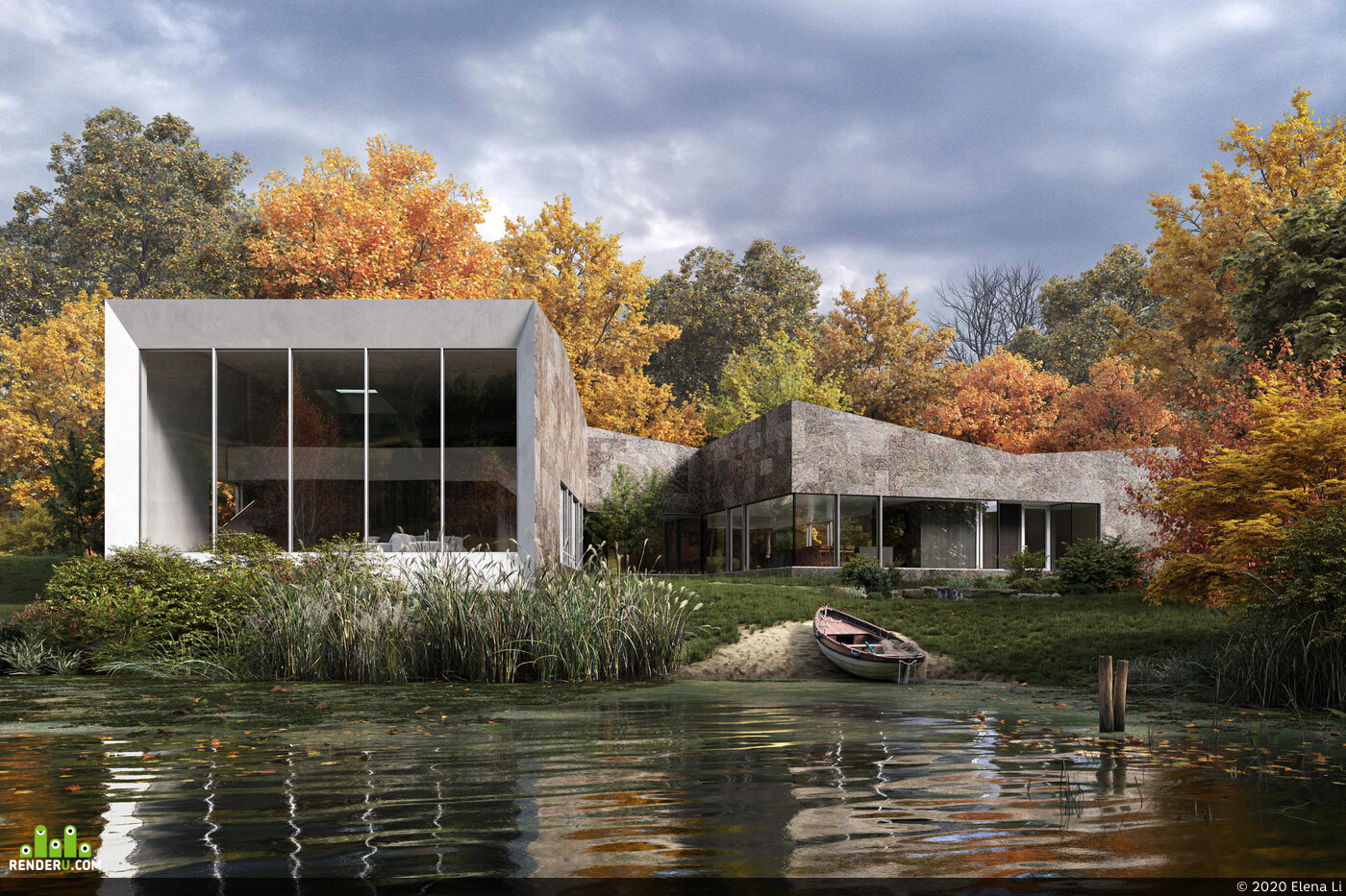 house in the forest, Nature, autumn, forest, lake, 3D Architecture, archvis