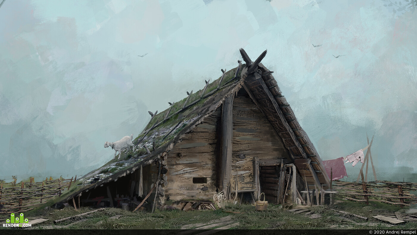 Concept art, environment, enviroment design, house, wood house