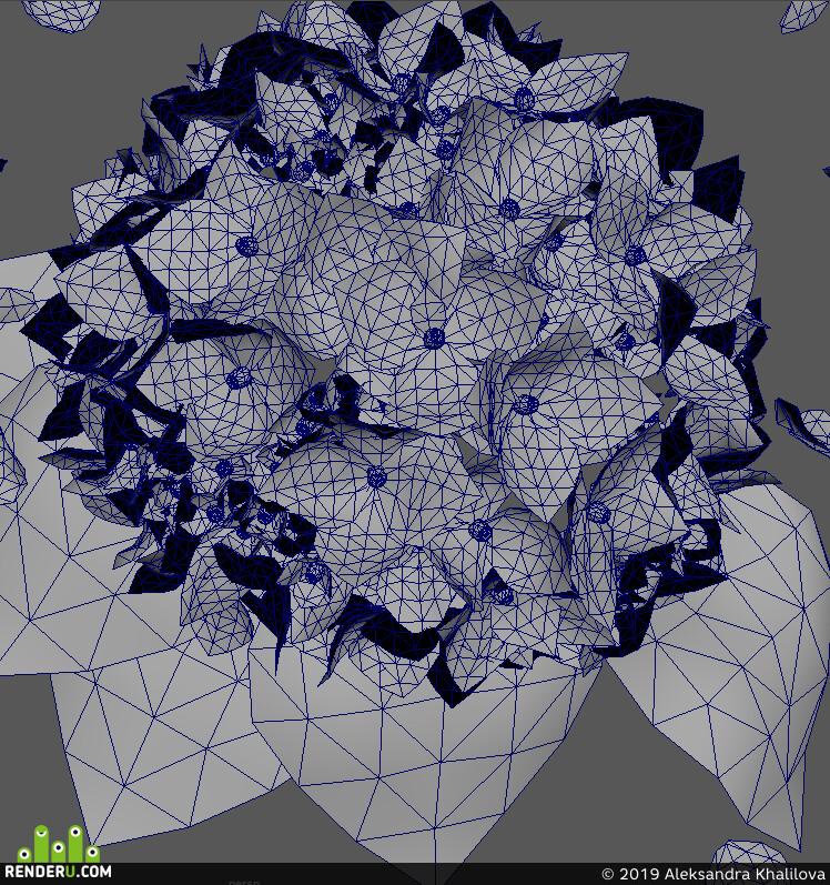цветы, гортензия, окружение, 3д окружение