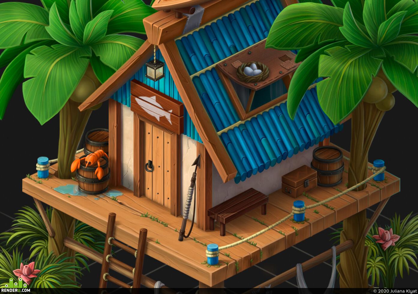 house, fisherman, island, palm, trees, fish, paradise island, boat, wood, barrel