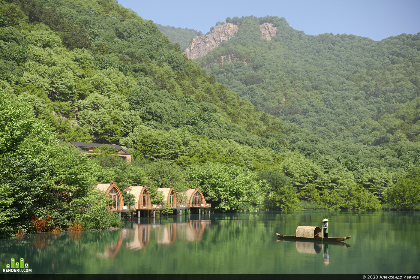 boat, river, river house, Nature, environment, the mountains, trees, archviz
