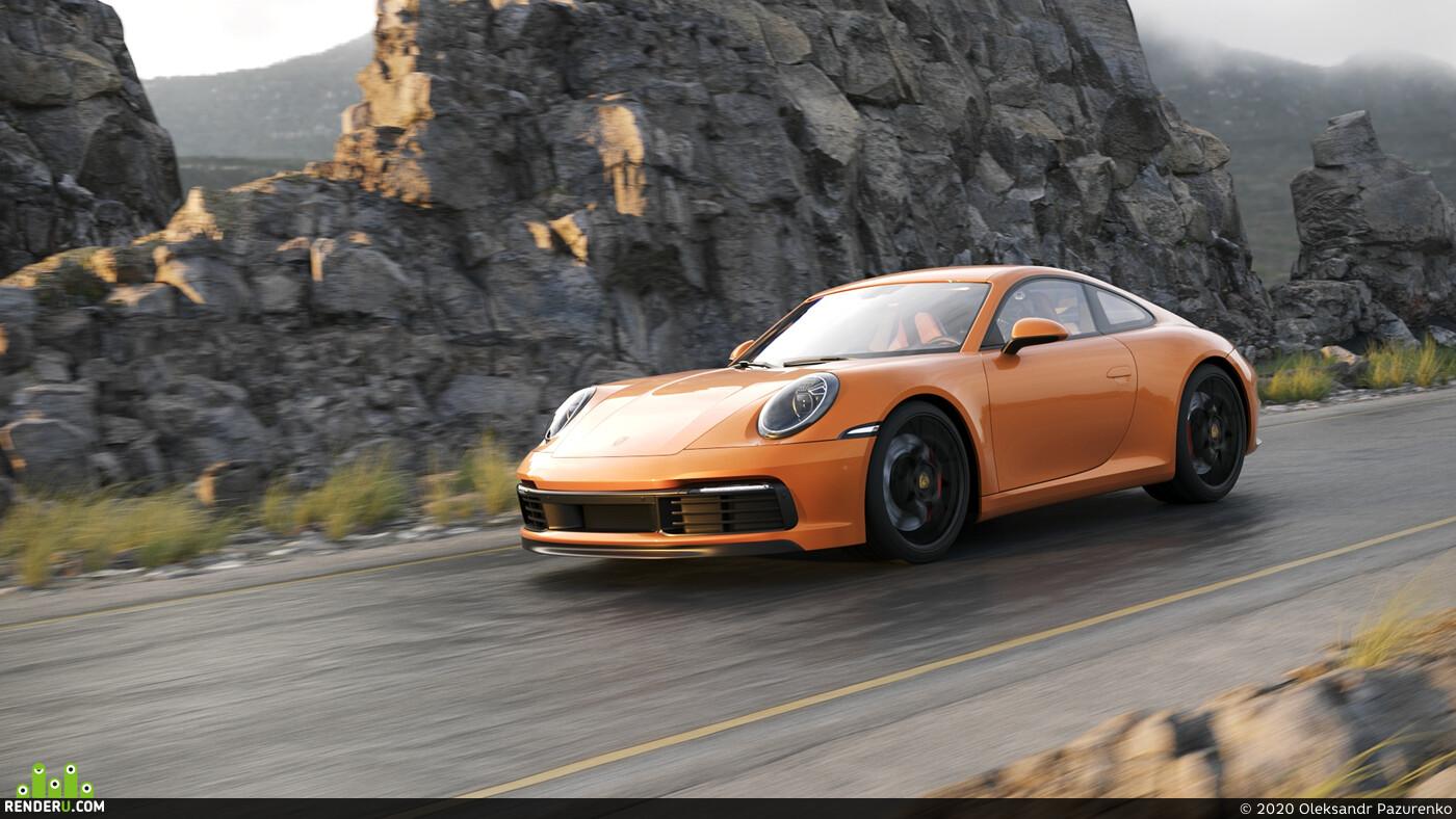 PORSCHE 911, 3ds Max, Corona Renderer, окружение, скалы, горы, дорога