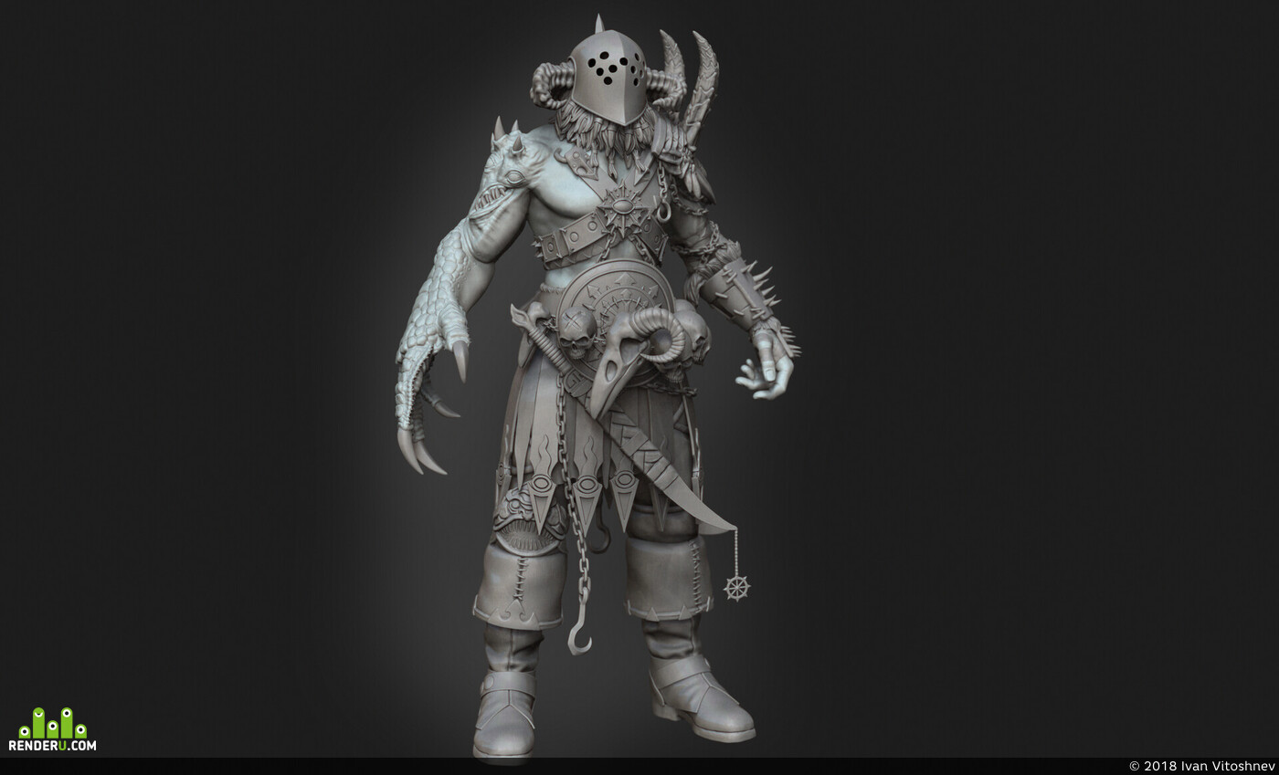 zbrush 2018, ZBrush, wip, Sketches, Fan art, Вархаммер40к, chaos
