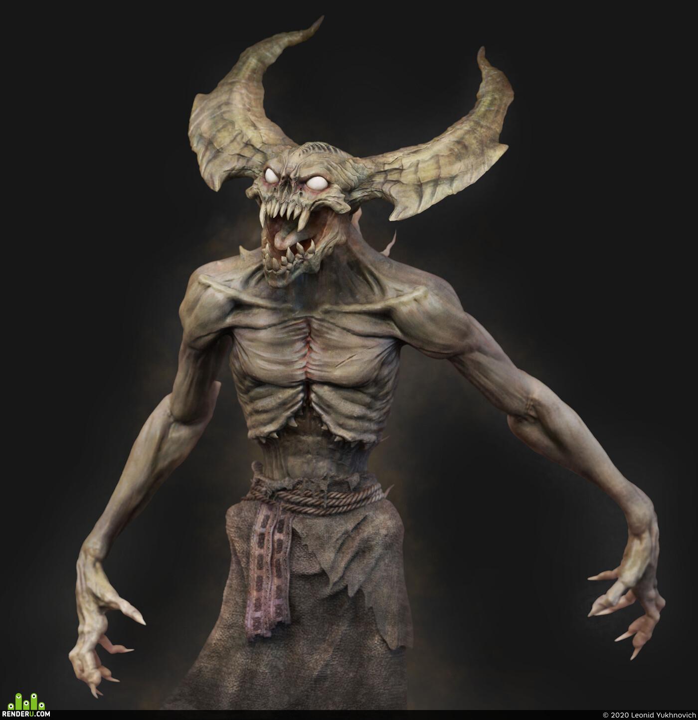 demon, 3dart, ZBrush