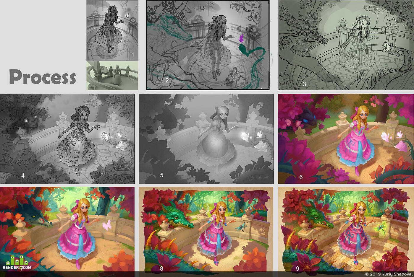 Digital 2D, Фэнтези, иллюстрация, дизайн персонажей, принцесса, дракон, девушка, дисней, цветок, замок
