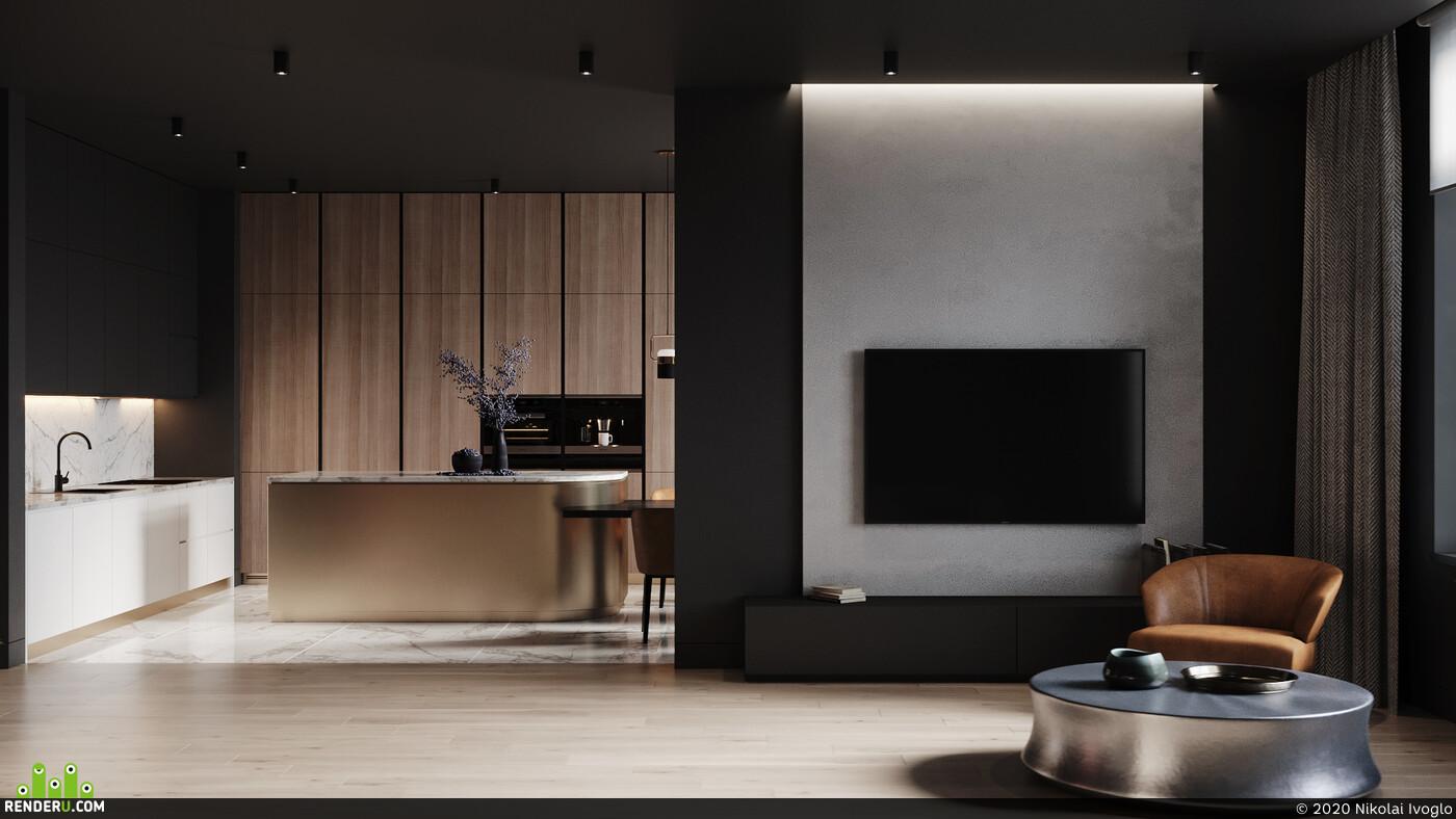 интерьер, дизайн, концепт, минимализм, визаулизация