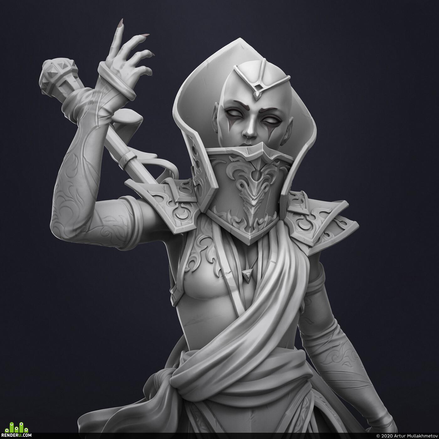 Digital 3D, Fantasy, Character Modeling, 3d character, concept, KeyShot, ZBrush, spear