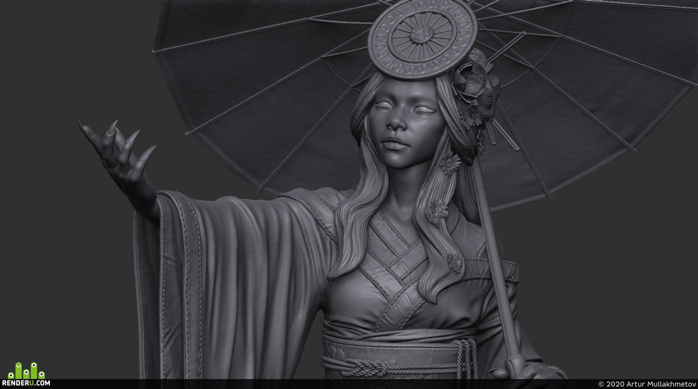 Character Modeling, kimono, Japanese, amaterasu, sun, god, Costume, cloth, sculpting