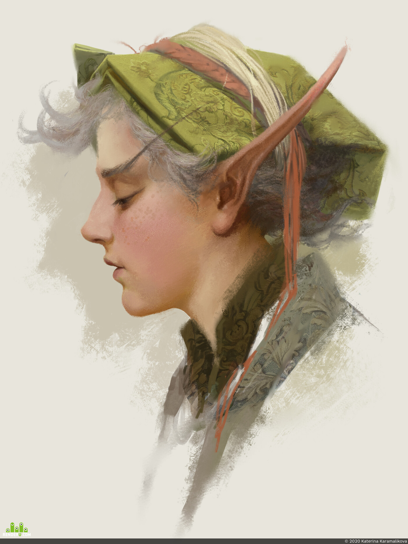 elfgirl, elf, girlportrait, Portraits, digital sketching