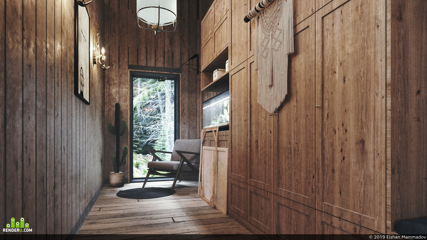 interior design,, Exterior, Cottage, 3ds Max, 3ds max vray, Vray, Revit, forestpack