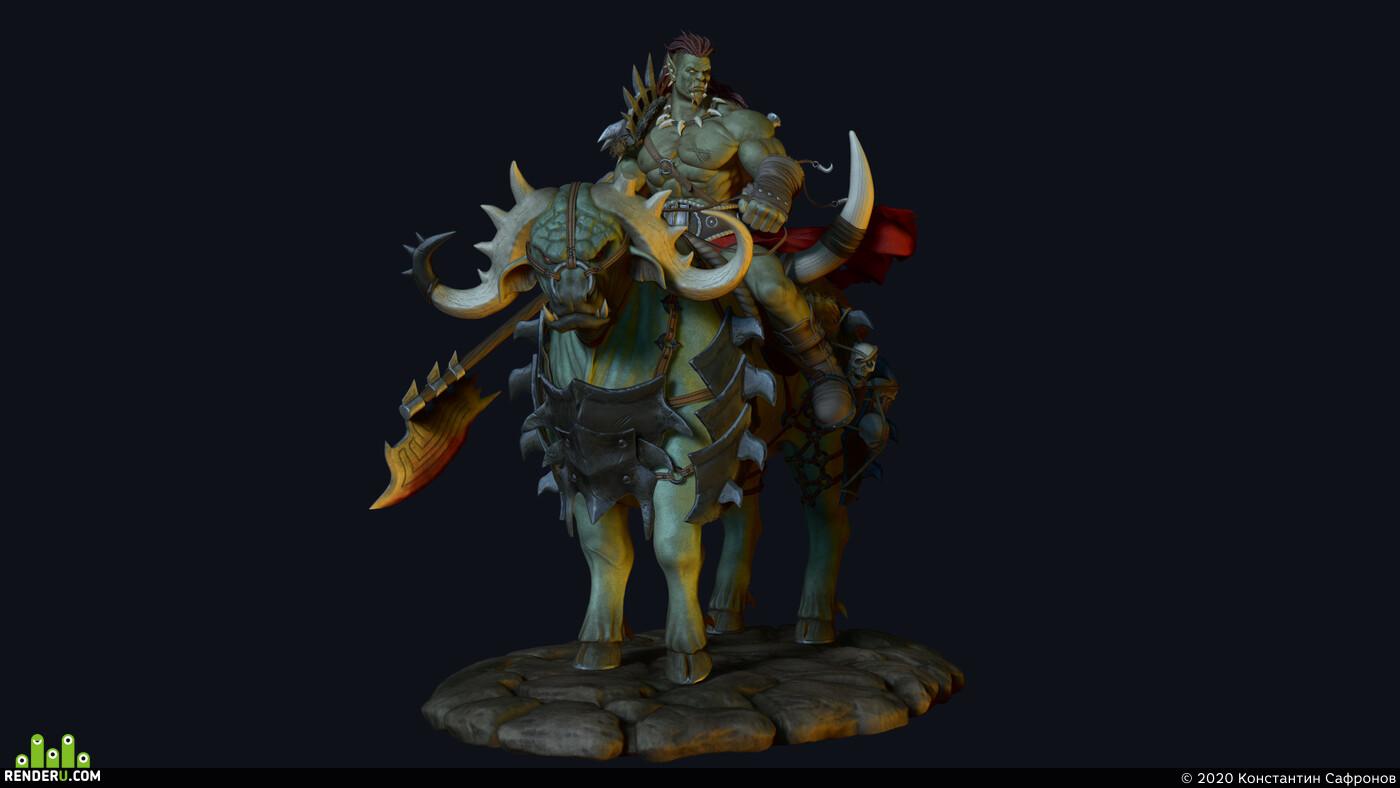 орк, бык, оружие, топор, доспехи, CG Обучение