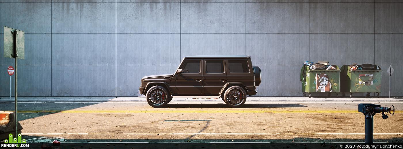 3d, 3Dsmax, AMBIANCE, art, automotive, cgi, Dark, jeep, mercedes, RAW