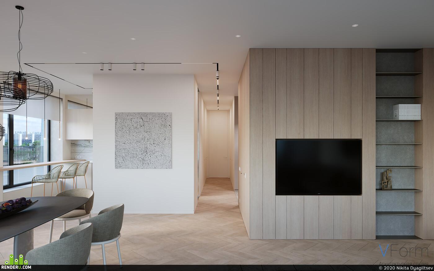 coronarenderer, corona render, corona, Living room interior, interior living room, living, kitchen-living room