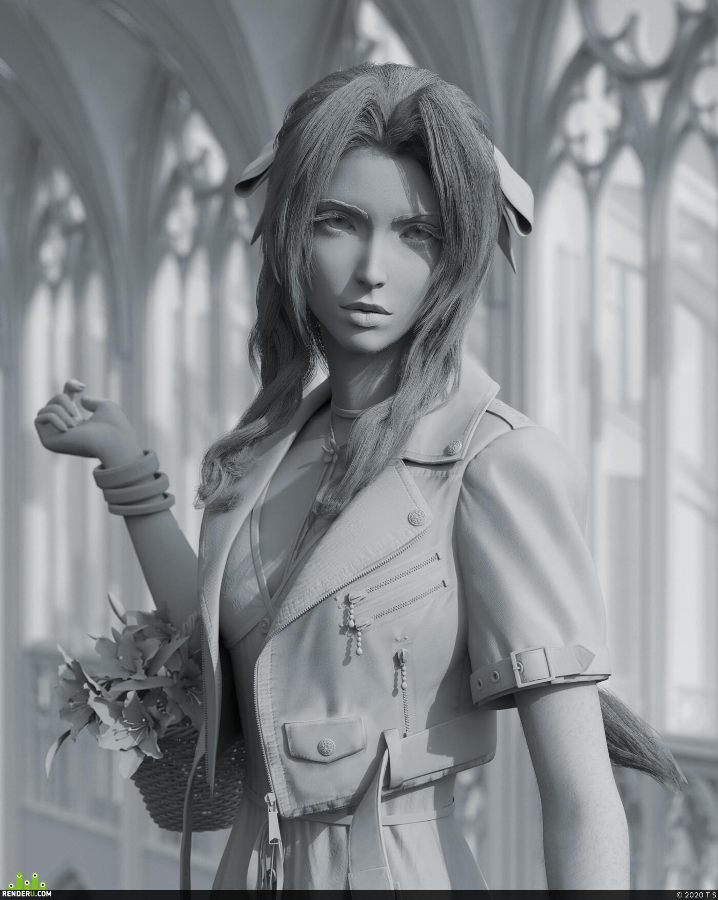 Aerith, final fantasy, Character, sculpt