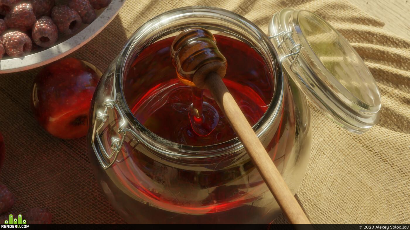 Blender 2.8, LuxCoreRender, мёд, малина