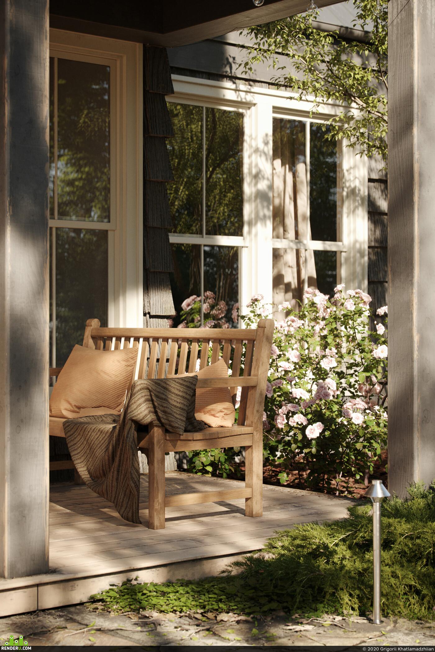 architecture, house in the forest, forest, garden, house, landscape, QuixelMegascans, coronarenderer, cgi