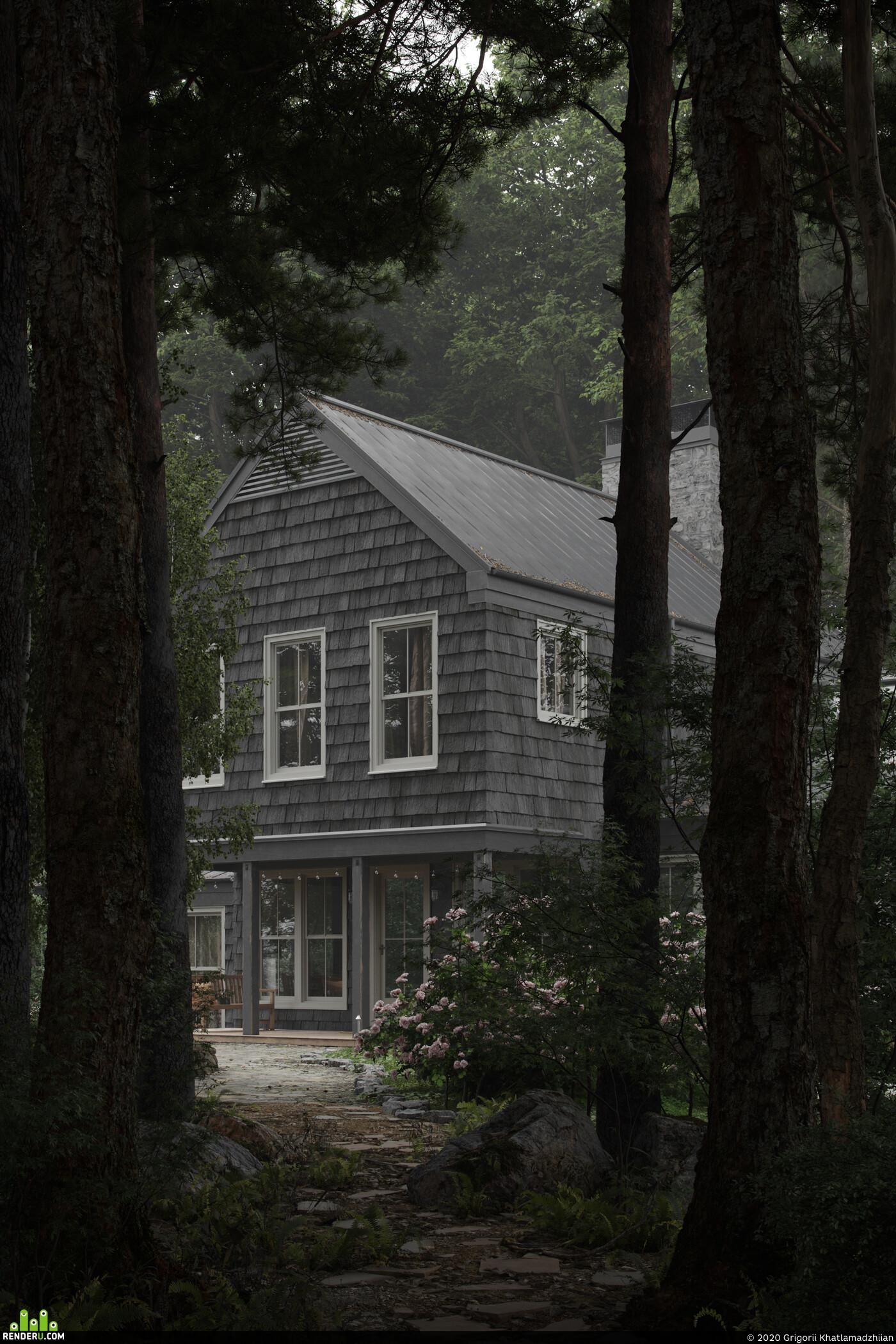 Exterior architecture, forest pack, quixel megascans, Marvelous designer, Компьютерная графика/CG, Cottage, Corona Renderer