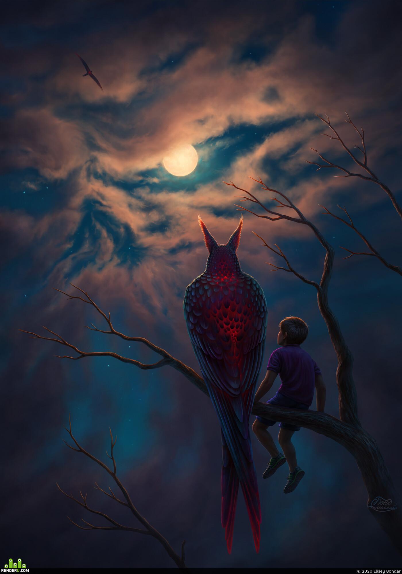 небо, ночь, луна, ребёнок, череп, облака
