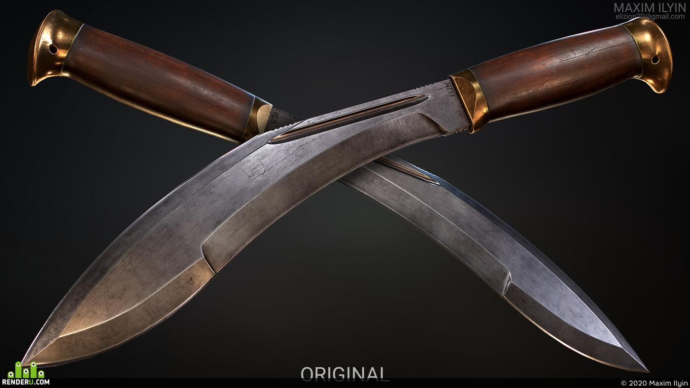 knife, machete, realistic, PBR, metal, wood, melee, detailed, weapon