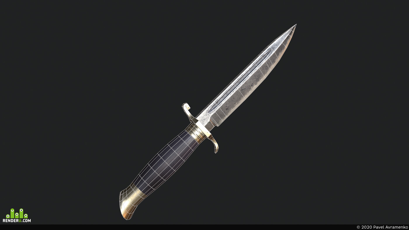 knife, low poly, game asset