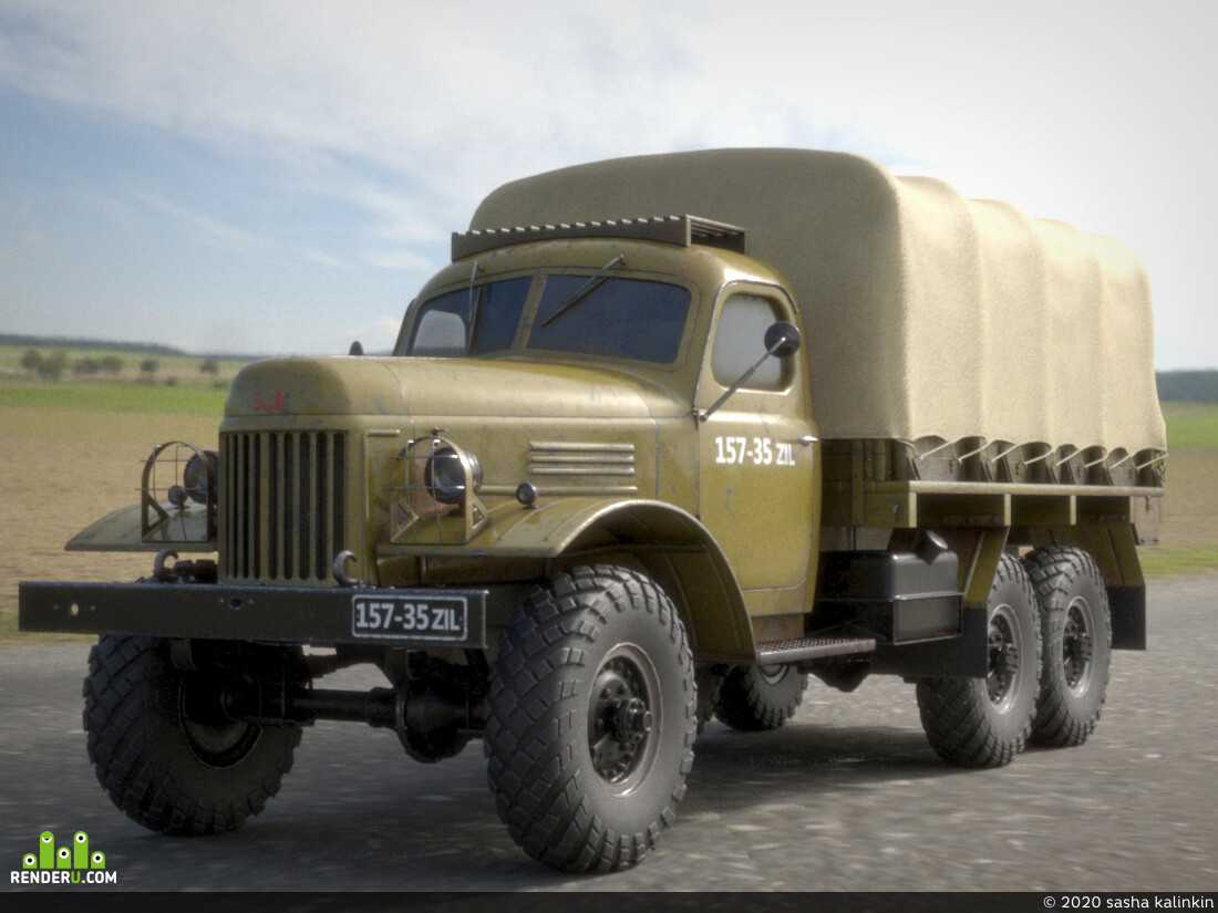 Zil 157, Vehicles, Transport, car, military, Game Low-poly, 3ds max, TP, VRay,