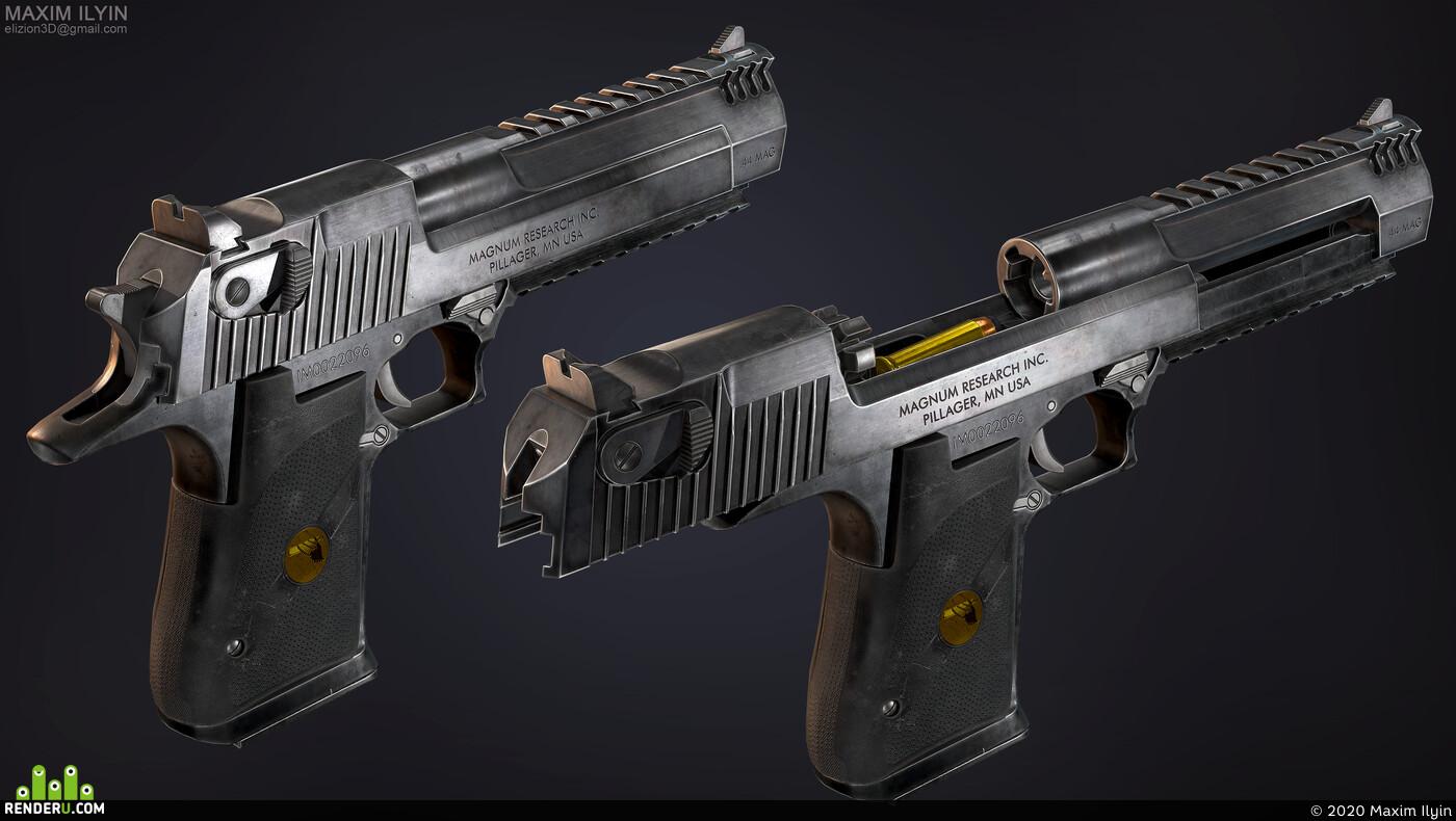 gun, weapon, handgun, pistol, realistic, PBR, deagle, magnum, prop, metal