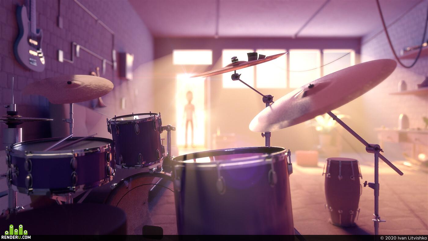 character, music, drums, internet radio, RNDM Radio, 3D Animation