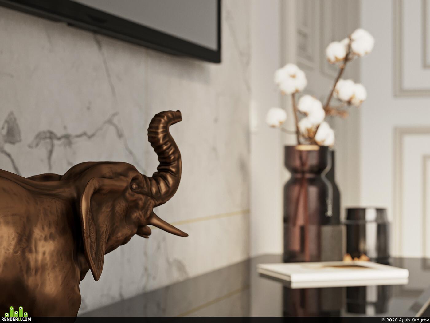 living room, interior, Elephant