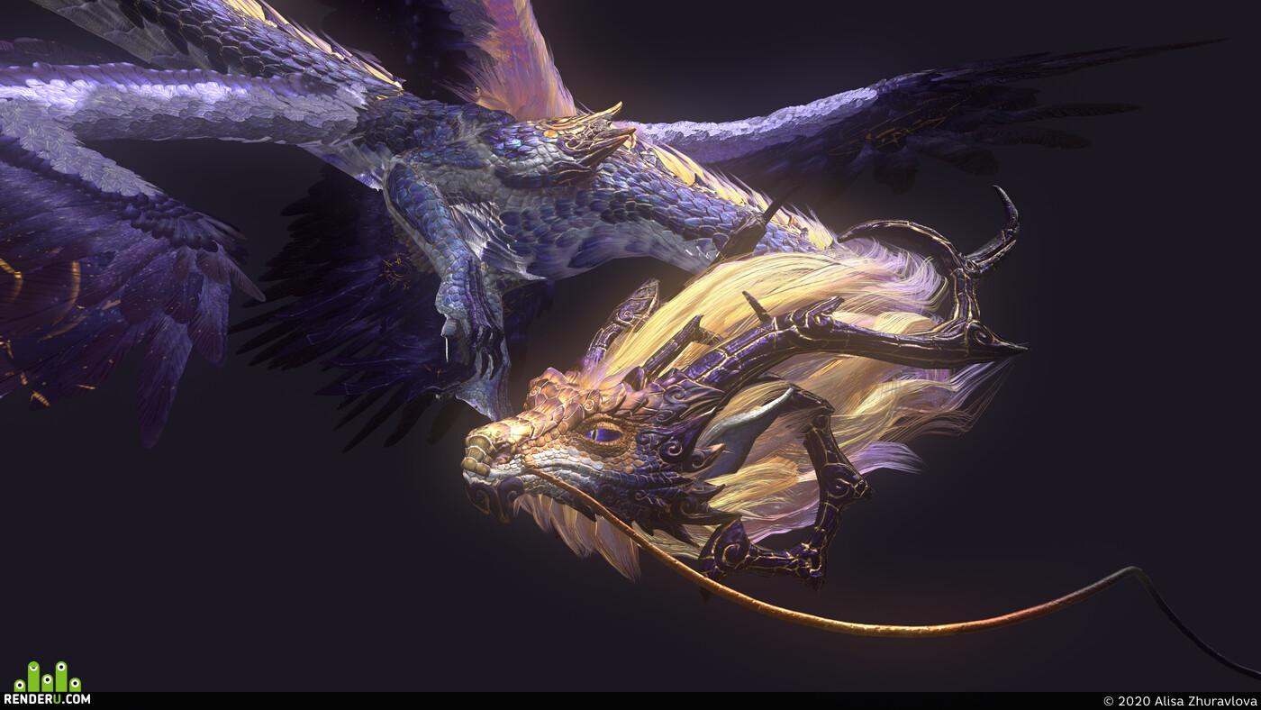 дракон, восточный дракон, Космос,, крылья, лоуполи волосы, Длинные волосы