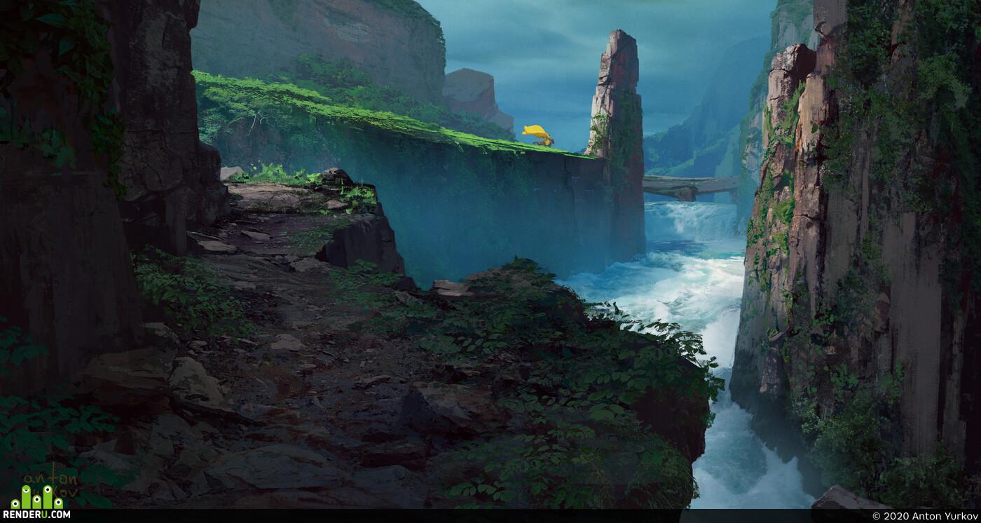 2d, ущелье, скалы, бурная река, Всадник