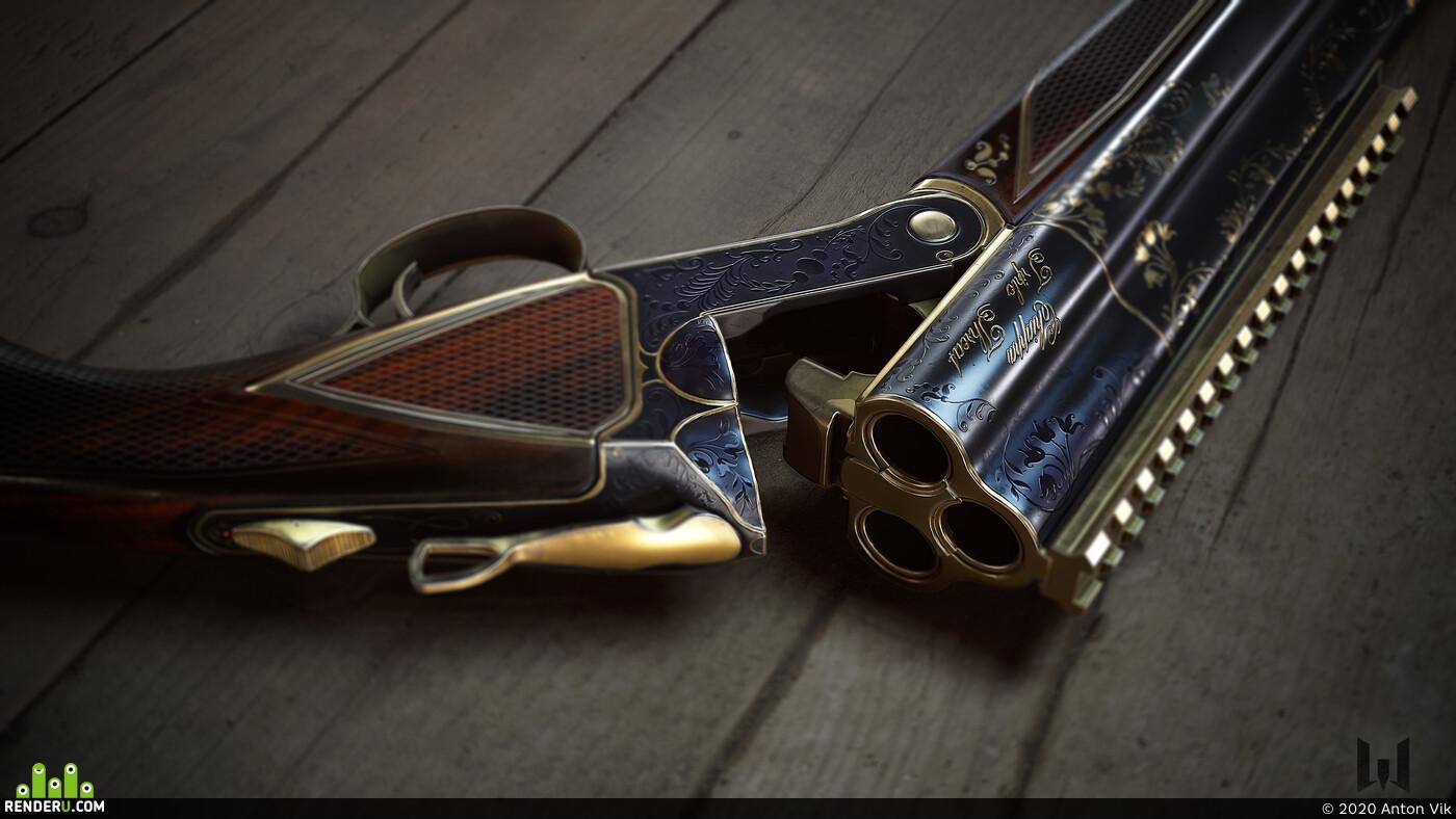 Digital 3D, game art, Weapons, hard surface, shotgun, weapon, WarFace, game